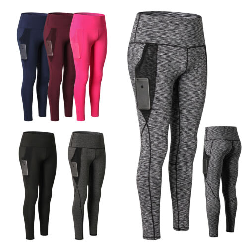 Women/'s High Waist Yoga Pants With Pocket Tummy Control Running Workout Leggings