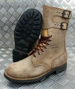 Genuine-French-Foreign-Legion-Brown-Leather-Suede-Army-Boots-Size-42-NEW-FB001