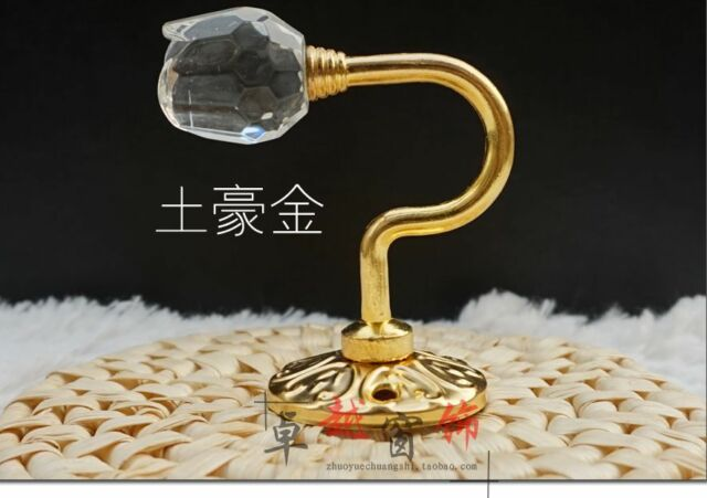 2 Crystal Curtain Tie Back Hooks Gold Crystal tieback hook tie back hook medium