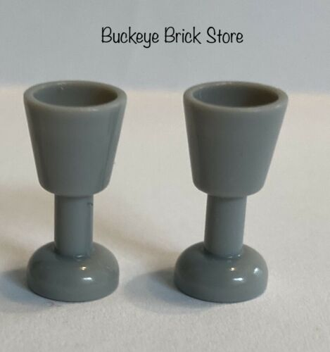 NEW Lego Minifig  2x Light Bluish GRAY GOBLETS Utensil Drinking Harry Potter