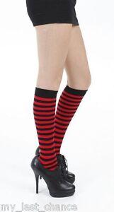 Red And Black Over The Knee Socks Pamela Mann Gothic Emo Punk Halloween