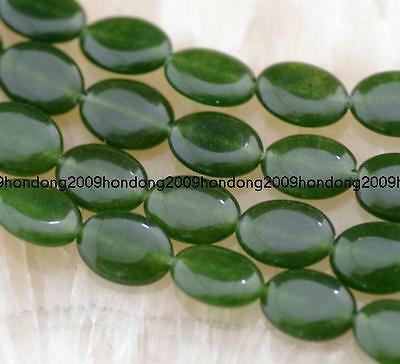 Natural 13x18mm Dark Green Emerald Gemstone oval Loose Beads 15''