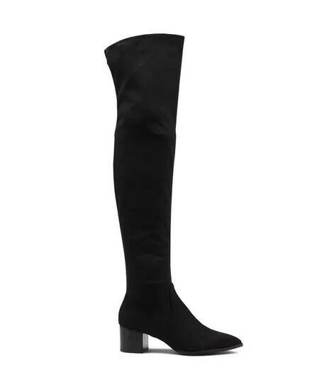Karl Lagerfeld Paris Amila 2 Black 9 M Suede Over Knee Fashion Boots Block Heel