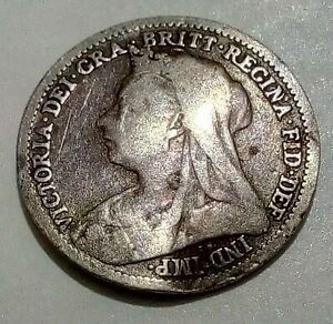 Silver-1901-Great-Britain-Three-3-Pence-Head-of-Queen-Victoria-3d