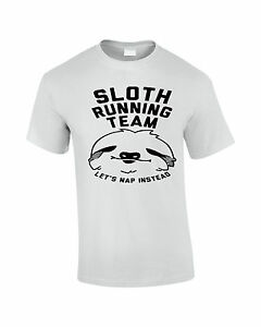 aae4a6156 Sloth Running Team T Shirt Funny Tee Running Top S = XXL 4 Colours ...
