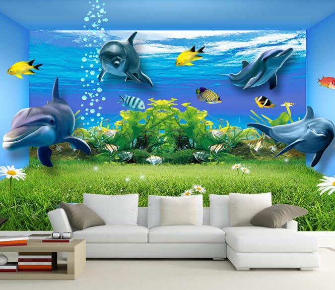 3D Dolphin Bule 663 Wallpaper Murals Wall Print Wallpaper Mural AJ WALL AU Lemon