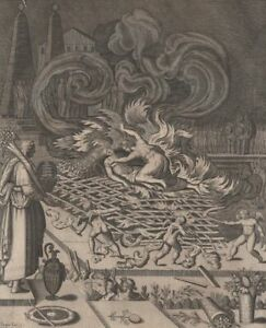 Mythology-Evadne-amp-Capanee-Bucher-Antoine-Caron-engraving-Jaspar-Isaac-Xviie