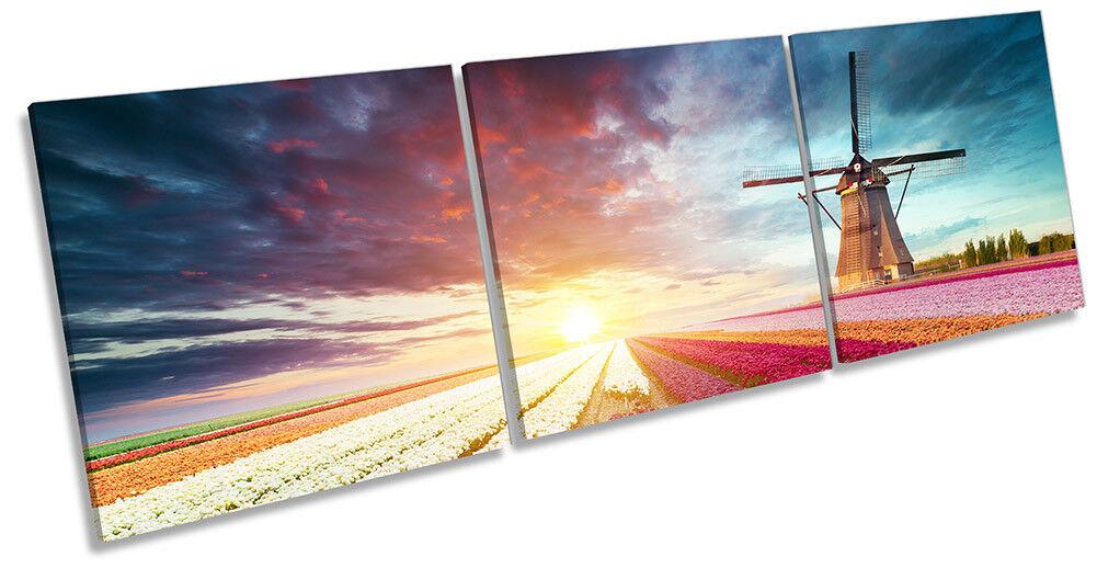 Windmill Sunset Floral Field Framed CANVAS drucken Triple wand kunst
