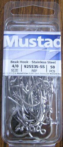 size 4//0 box of 50 hooks model 92553S-SS MUSTAD Beak Hook Stainless Steel
