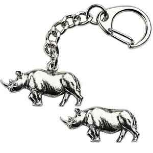 Rhino-rhinoceros-Key-ring-And-Pin-Badge-Boxed-Gift-Set-Handcrafted-In-Pewter
