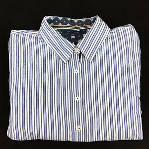 Tommy-Hilfiger-Women-s-Button-Up-Long-Sleeve-Blue-and-white-Striped-Shirt-Sz-12