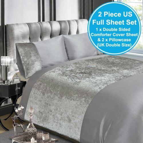 Zerdrückter samt Silber Doppelt Bettbezug und Kopfkissenbezug Set Erwachsene