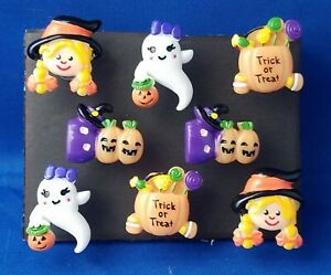 HALLOWEEN TRICK or TREAT - Set of 8 Handmade Decorative Memo Board Magnets