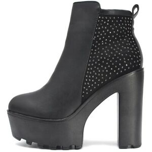 Senora-botas-botines-botas-de-plataforma-tacon-alto-zapatos-de-salon-negro-cremallera
