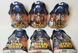 $125 value- Lot of 6 STAR WARS ROTS Clone Troopers MOC PILOT COMMANDER BLY AT-TE