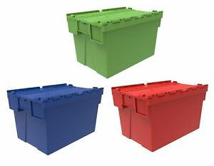 69fedac3f4a7 Details about 5 x 65 Litre Coloured Plastic Storage Boxes Containers Crates  Totes with Lids