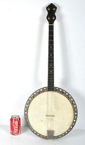 "Antique Vintage 4-string Tenor Banjo Elton Résonateur Environ 14"" Long-afficher Le Titre D'origine"