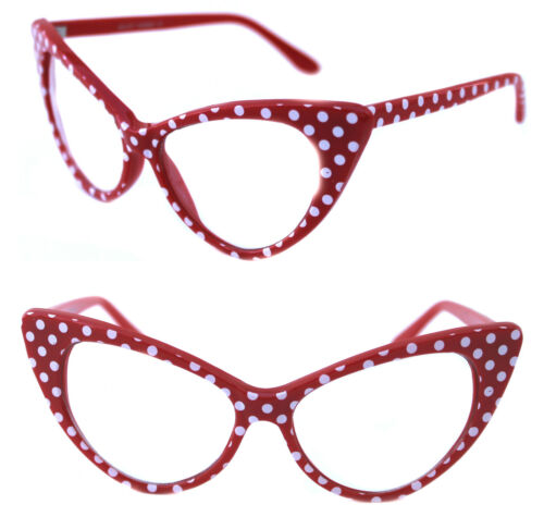 Women/'s Cat Eye Glasses Clear lens Nikita Large Red with White Polka Dots 50/'s