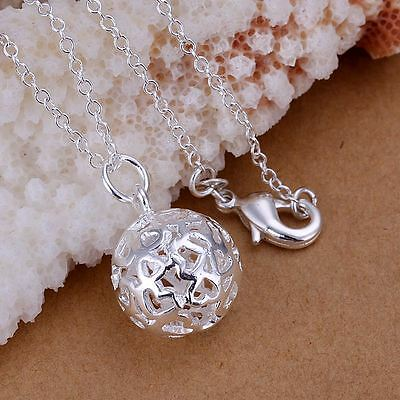 *UK* 925 SILVER PLT PATTERNED HOLLOW BALL PENDANT NECKLACE HEART FILIGREE GIFT