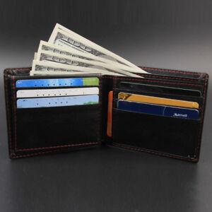 Maenner-Bifold-Business-Leder-Brieftasche-IDKreditkarteninhaber-Geldboerse-Taschen