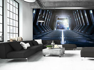 Image Is Loading Photo Wallpaper Earth Space Station GIANT WALL DECOR