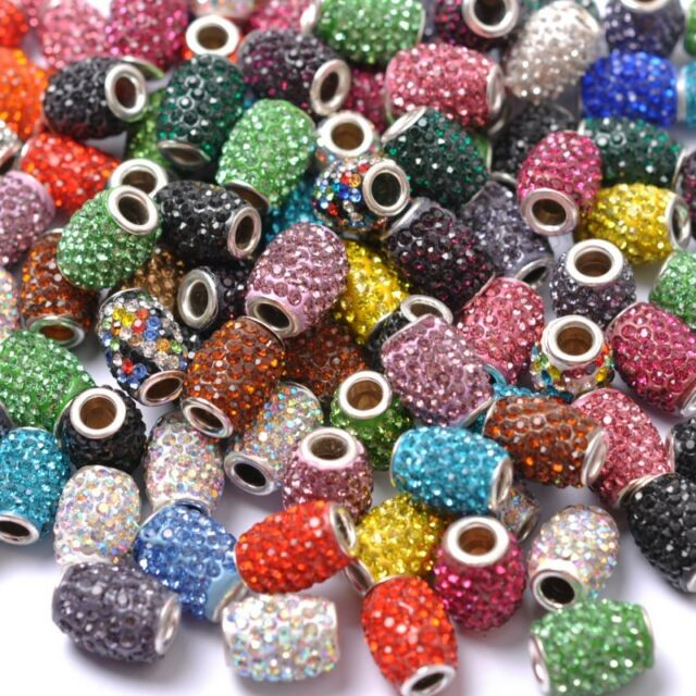 Lots Silver cone Crystal European Hole Bead Fit Charms Bracelet Gift 16X12MM