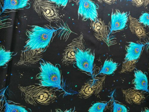 Cotton Fabric Fat Quarter quilting Peacock Reathers on black with Metallic