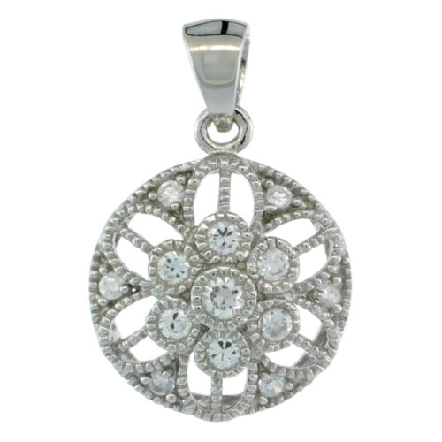 Sterling Silver Round Floral Flower Pendant w// Cubic Zirconia Stones