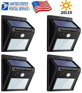 4PK-20LED-Solar-Power-Light-PIR-Motion-Sensor-Garden-Yard-Outdoor-Path-Wall-Lamp