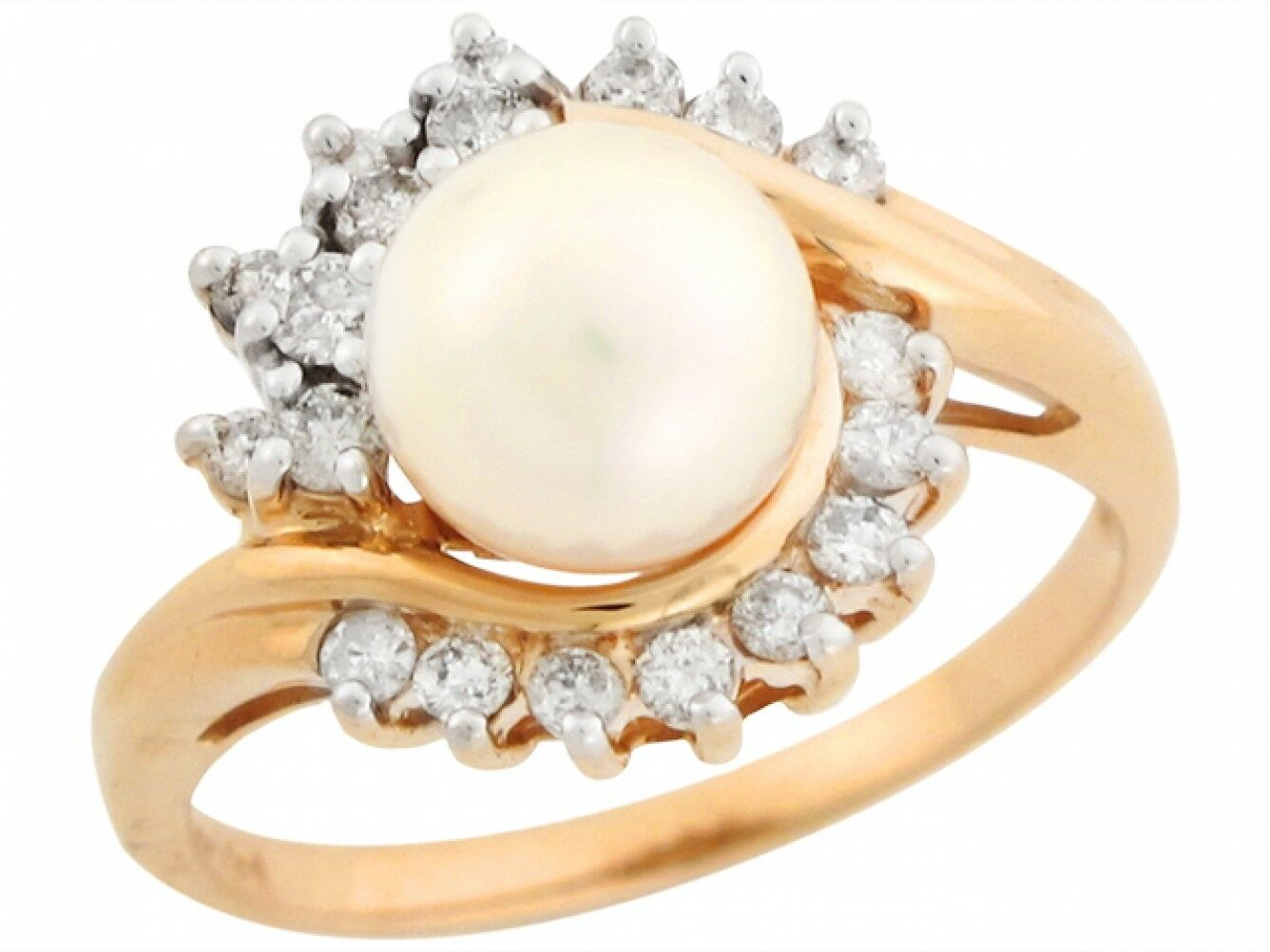 10k or 14k Two Tone gold Freshwater Cultured Pearl Diamond Accent Stunning Ring