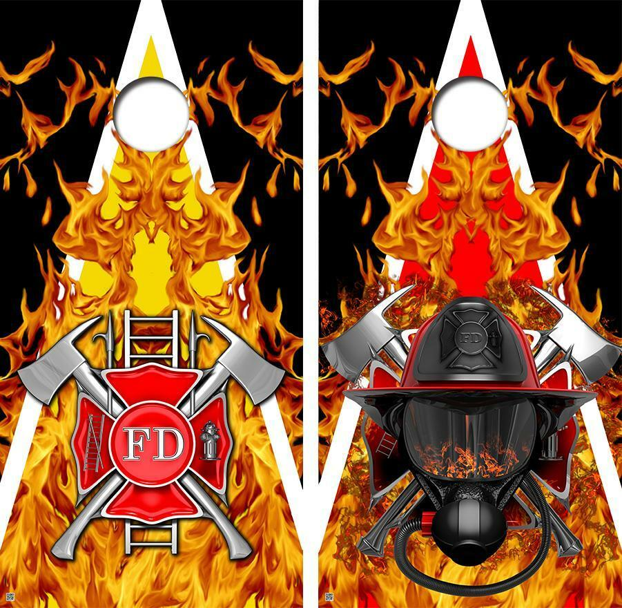 Firefighter Flames Theme Triangle Cornhole Board Skin Wrap FREE  SQUEEGEE  factory direct sales