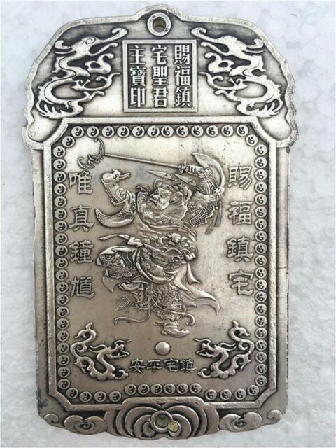 Refinement tibetan tibet silver Double sided ZhongKui Amulet plate