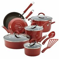 Rachael Ray Cucina Porcelain Enamel Nonstick 12-piece Cookware Set, Cranberry...
