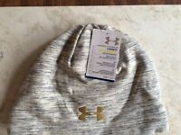 Under Armour Women's Coldgear Storm White & Gray's Gold Logo Brand W/tags
