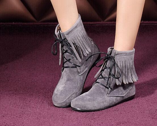 Botines botas zapatos de tacón mujer 1.5 cm como piel flecos cómodo grays 085