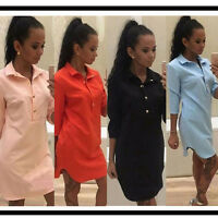 New Womens Blouse 3/4 Sleeve Ladies T Shirt Casual Loose Short Mini Dress Tops