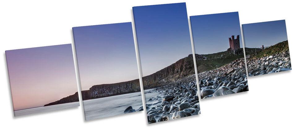 Dunstanburgh Castle Scene Sunset MULTI CANVAS Wand Kunst Box Frame Bild