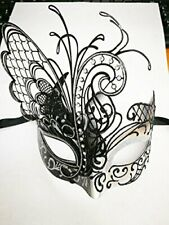 White Luxury Dream Butterfly Metal Venetian Masquerade Mask for Women M33162