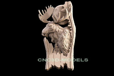 3D Model STL for CNC Router Engraver Carving Artcam Aspire Deer Hart Buck f604