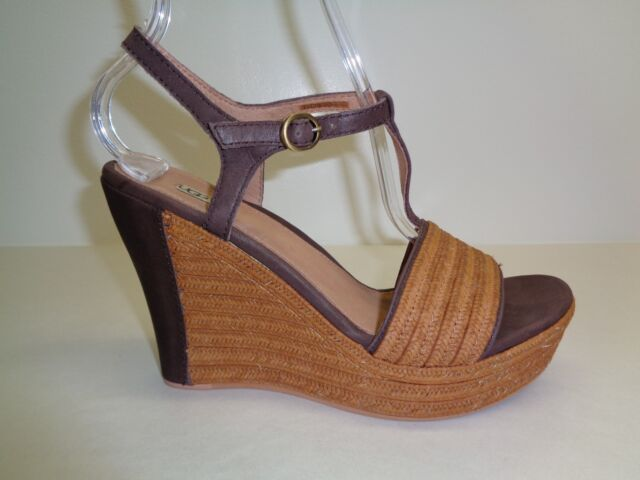 4217a03e919 UGG Australia Size 9 FITCHIE Brown Leather Wedge Heel Sandals New Womens  Shoes