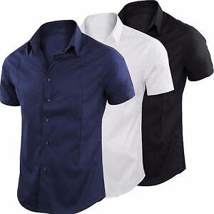 Camicia-Uomo-Slim-Fit-Maniche-Corte-Casual-Comfort-Mezza-Manica-Girogama-1239MC