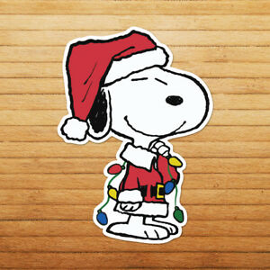 Snoopy-Christmas-Lights-Xmas-Santa-Peanuts-Die-Cut-Wall-Car-Window-Decal-Sticker