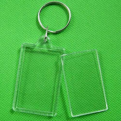 10X Key Ring Empty Shell Keychain Acrylic Picture Photo Frame Locket Couple #B5U