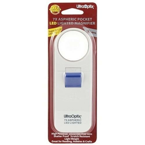 UltraOptix 7X Aspheric LED Lighted Pocket Magnifier Coin Stamps Collector Tool