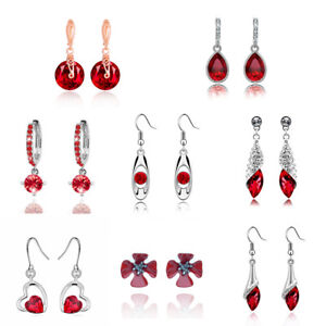 Bright-Red-Casual-or-Christmas-Drop-Hoops-Gold-Silver-Earrings