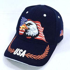 USA American Eagle Flag Embroidered Red White Blue Baseball Hat Cap ... 10f74badfb3