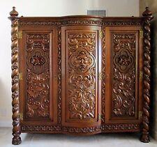 Antique Spanish Baroque Colonial Wardrobe Circa 1925 Hand Carved Red Cedar Wood