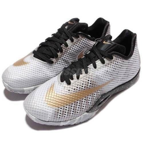 NIB MEN'S NIKE 819663 170 HYPERLIVE WT/GREY/BK/GLD BASKETBALL LOW SHOES