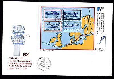Finnland Briefmarken Kraftvoll Finnland Block 4 Fdc Finlandia 88 Flugpostbeförderung