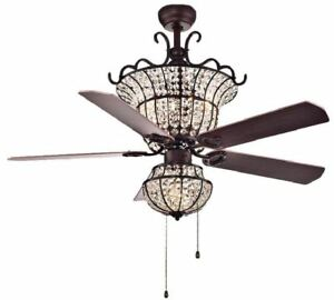 Image Is Loading 52 034 Chandelier Ceiling Fan Crystal Shade Accent